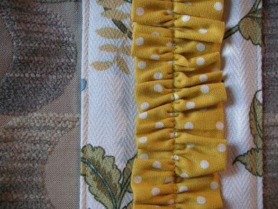 handmade purses, polka dot ruffle detail, art purses