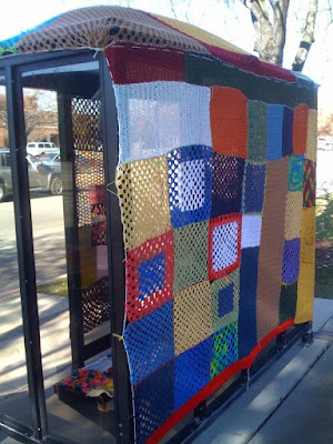 bus stop cozy- yarn bombing, Provo Utah