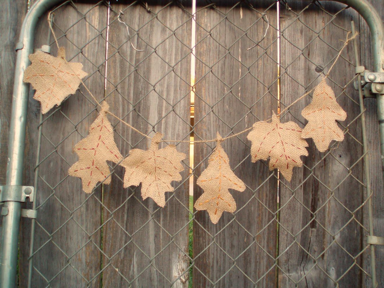 Burlap Leaf Garland
