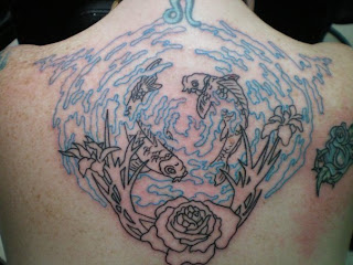 Val 39 s rose and koi pond tattoo for Koi pond tattoo