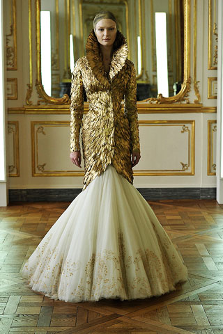 Alexander Mcqueen S Fall 2010 Gold Feathered Dress Collection