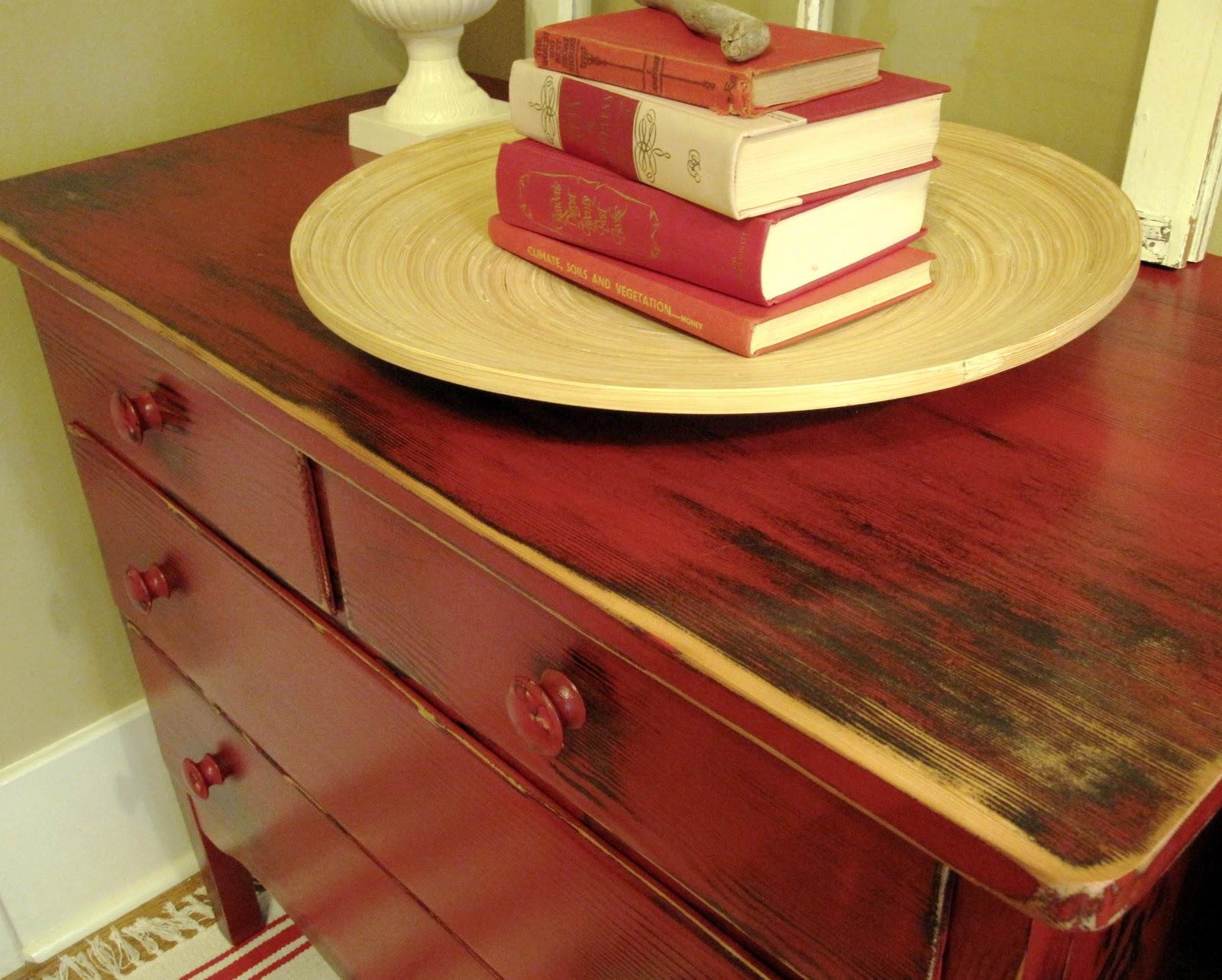Sweet Tree Furniture Apple Red Rustic Lowboy