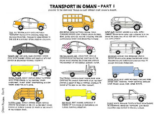 TRANSPORT IN OMAN - PART 1 Omani taxi: All terrain, musty smelling public transport vehicle with informal three-tier pricing structure. Frequently seen reduced to the size of a suitcase after a head-on collision.  Omani gas bottle truck: Battered orange truck clanging around local streets driven by small boys. Extra services include checking your gas connections when your daughter is alone.  Omani Expat 4WD: Freshly washed in a local supermarket driven by an expat lady listening to Hi-FM doing the school run or on her way to a nail appointment.  Omani 'Sports car': Low level dark coloured Honda Civic with throbby stereo and seats at 30-degree angle driven by brainless fuckwhit.  Omani driving school car: Ubiquitous vehicle containing an 'instructor' chatting on the phone while draping the other arm around the headrest of the female learner victim.  Omani baiza bus: Medium size passenger vehicle which accumulates under footbridges after performing life-threatening manoeuvres to collect one more passenger.  Omani petrol tanker: Heavy vehicle usually clustered with other lorries in 'No Parking' zones overnight. Might start disappearing in a few years when the oil's gone.  Omani tow truck: Common sight during rush hour carrying the largest remnants of an 'accident' leaving a group of men in orange overalls to sweep up the rest on an open highway.  Omani water truck: Blue lorry generally spilling more water than carrying. Worth watching smaller sized trucks going over speed bumps.  Omani dustbin lorry: Smelly orange trucks hopping around the streets of the city in the early hours picking up rubbish dumped by maids in the vicinity of the rubbish bins.  Omani  poo truck: Best avoided, especially if hooked up to a house or performing an illegal dumping operation.  Omani  pickup: White mangled Toyota with maintenance or insurance driven by toothless sun-baked mountain man with a driving licence.