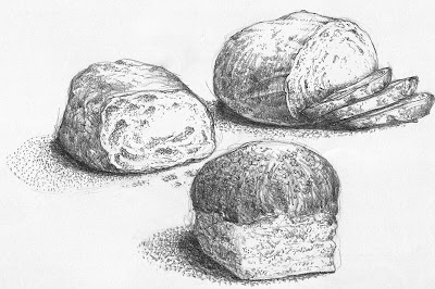 Pencil Drawings Bread Sketch Coloring Page
