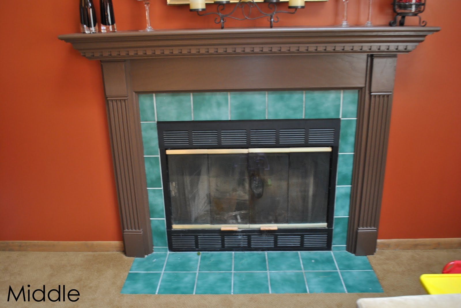Do It Yourself tutorial on how to retile a fireplace with new ceramic tile