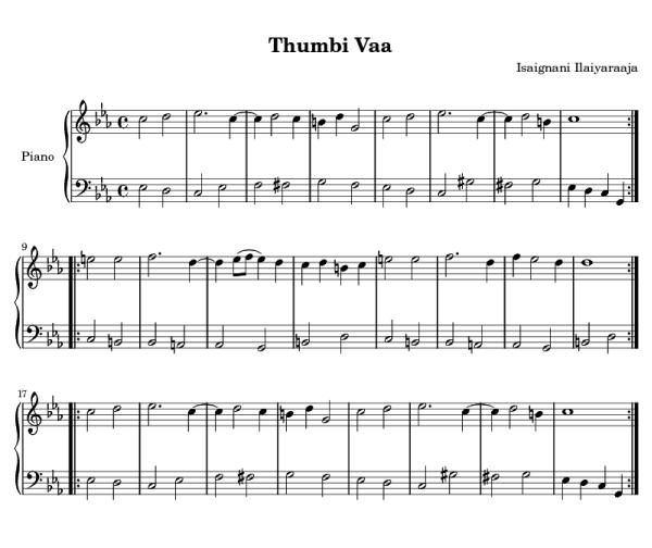 Tamil songs keyboard notes