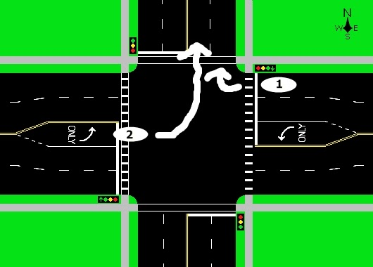 Driving On The Wet Coast Lane Use At Controlled Intersections