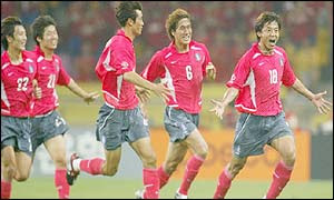 Hwang (18) celebrates his goal against Poland at the 2002 World Cup