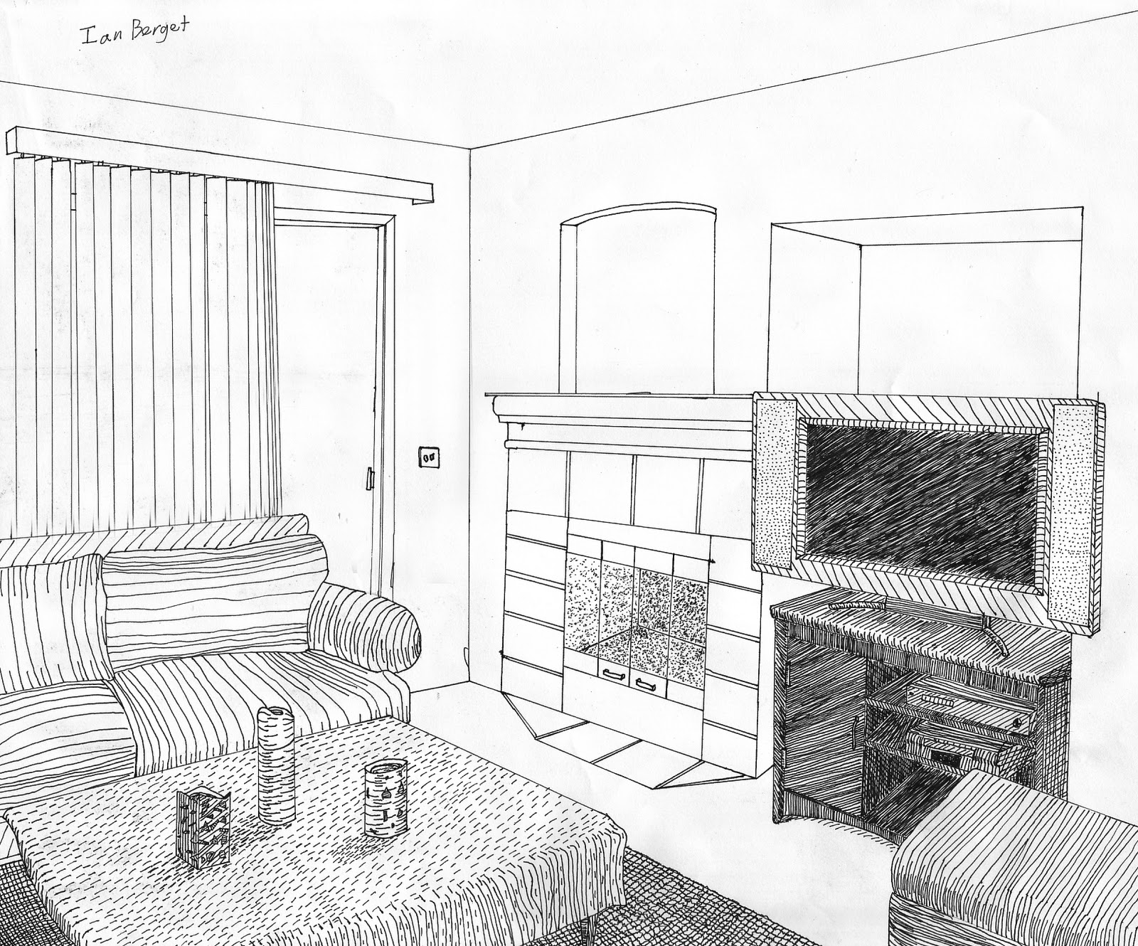Ian 39 s art blog drawing pen drawings - How to draw a living room in perspective ...