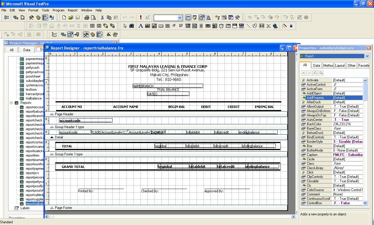 Microsoft Visual Foxpro: Trial Balance Report
