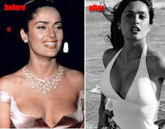 Salma hayeks boob real