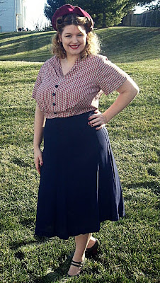 1940s wwII dress and 1950s felt hat  plus size vintage via va-voom vintage