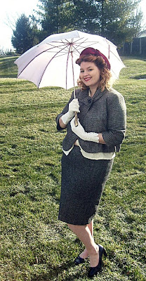antique purple umbrella and 1950s felt hat  and 1950s style suit plus size vintage fashion
