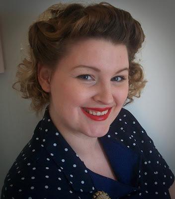 1940s pin curls tutorial and polka dot dress