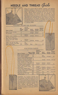 1940s sewing needle and thread guide from Simplicity