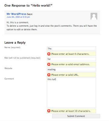 Adding Form Validation to WordPress