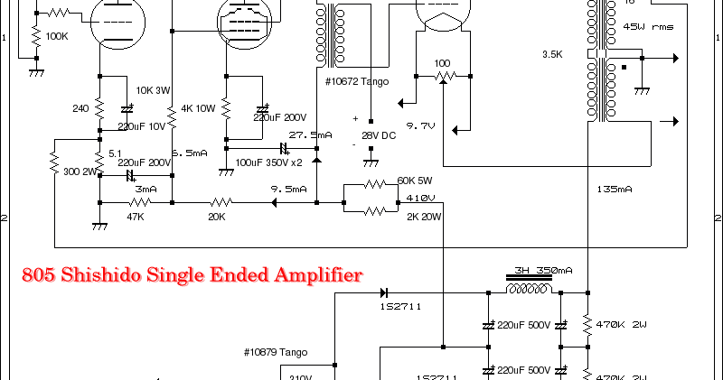 Wiring Schematic Diagram: Tube WE437A + 6L6GC + 805 Single