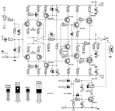 Audio kit: HI-FI Power Amplifiers 120W MOS-FET IRF9540 IRF540