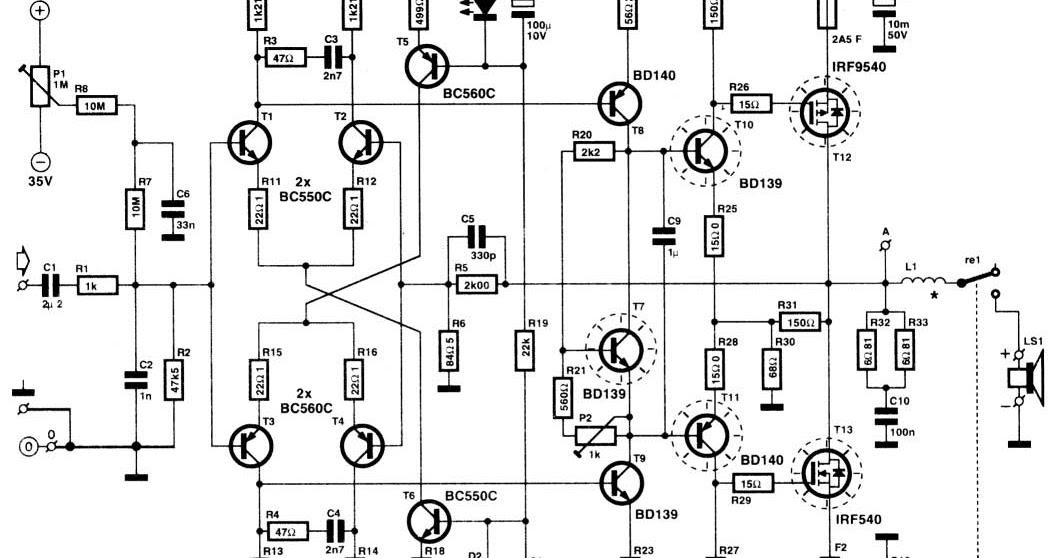 Wiring Schematic Diagram: HI-FI Power Amplifiers 120W MOS