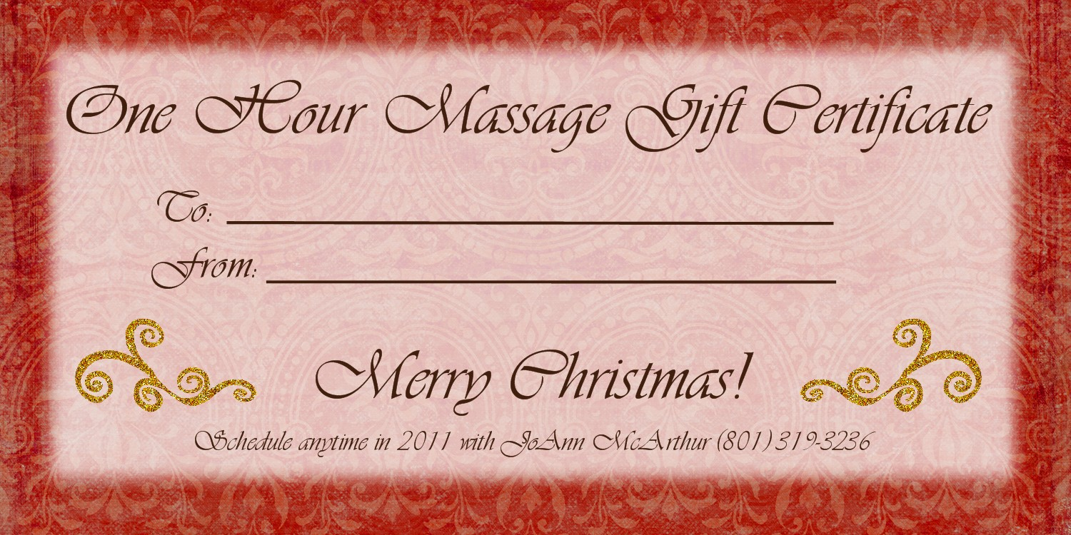 massage therapy gift certificate template - 1500px