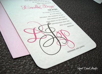 letterpress printing, pink, brown, rounded corners, hand lettering, monogram
