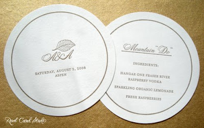 letterpress printing, circle, signature drink, monogram, aspen leaf