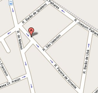 mapa de localização da Pharmácia Homeopática Simões, ligada ao Laboratório Simões, na rua Pereira de Almeida 102, Tijuca