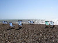 Beach chairs on Brighton Beach in England