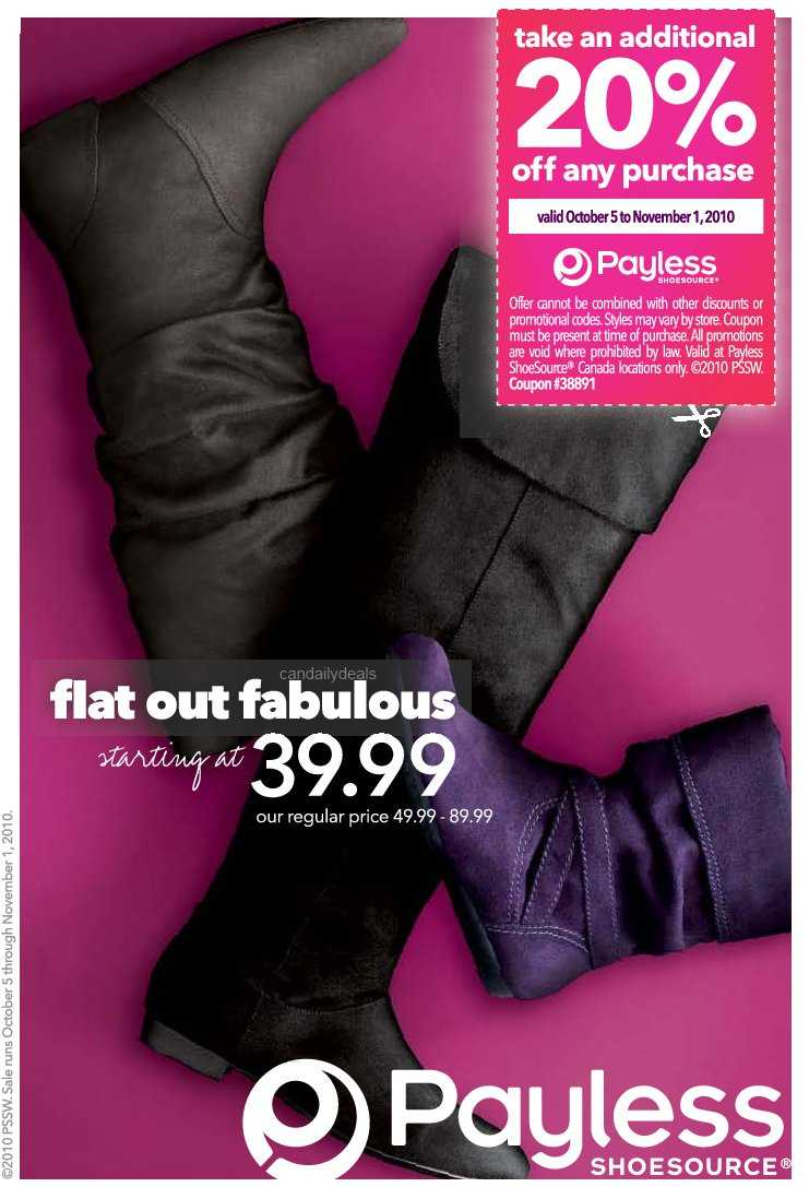 image regarding Payless Shoes Printable Coupon identified as Canadian Day by day Discounts: Payless Footwear Canada: Get 20% Off
