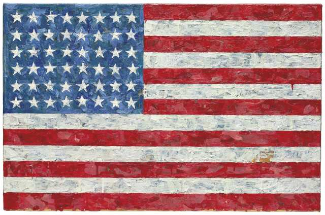 Flag Encaustic And Printed Paper Collage On Laid Down Canvas 17½ X 26¾ In 44 5 67 9 Cm Painted 1960 1966