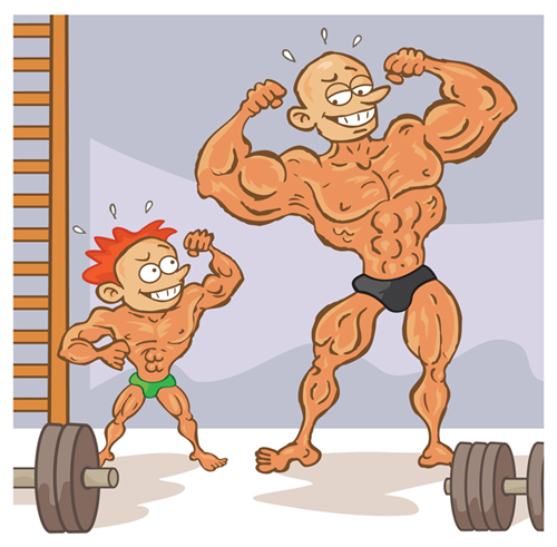 Bodybuilder image cartoon - Cartoon body builder ...