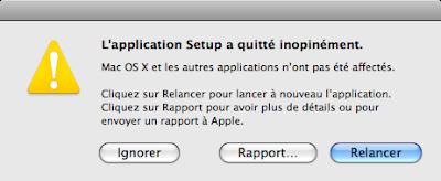"""Message d erreur """"l'application setup a quitté inopinément"""" sur imprimantes canon"""