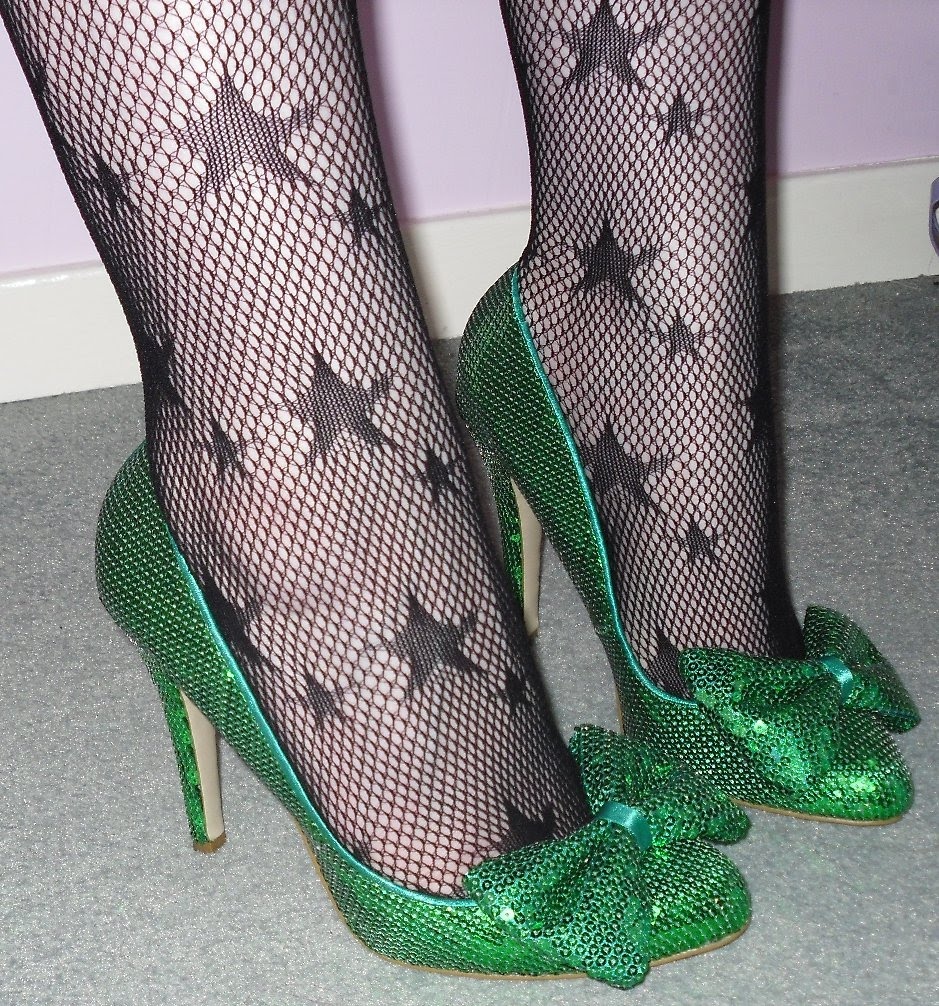 ac6afa5711d5 Green sequin 'Dolly' court shoes with bow KG by Kurt Geiger, star net  tights Primark