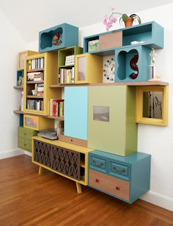 TV composition, wall composition, composition of living room, bedroom, furniture recycling, reuse of materials, chalk color, multicolored furniture, objects, different style of furniture, vintage, design,