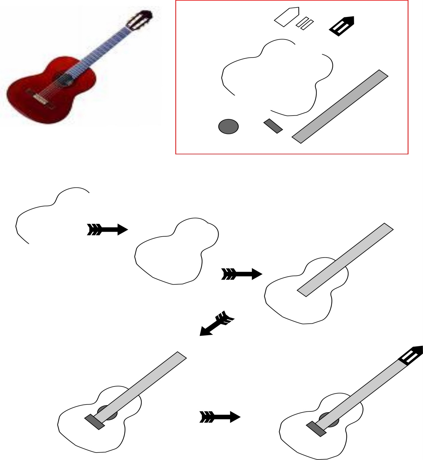 The Body Of Guitar Is Actually Made By Drawing Two 3s You May Need To Practise Back Front 3 A Bit Firstly All Other Lines Are Easy Enough