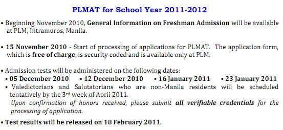 PLM Admission Test Schedule
