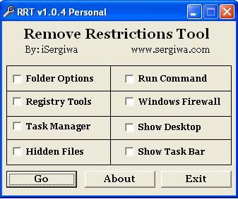 أداة Remove Restrictions لإظهار الملفات وسطح المكتب وخصائص أخرى