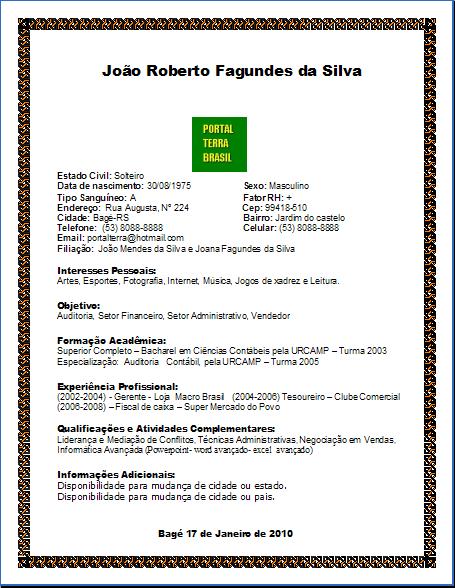 Curriculum Vitae Em Portugues Simples Para Preencher