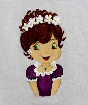 pintura em tecido boneca moranguinho