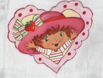 pintura em tecido medalhao de coração com moranguinho
