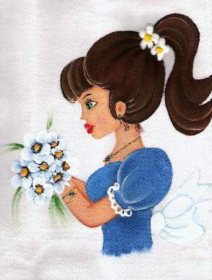 pintura em tecido boneca com vestido azul para colocar saia de croche