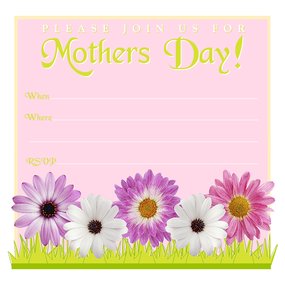 Square Printable Mothers Day Invite Template