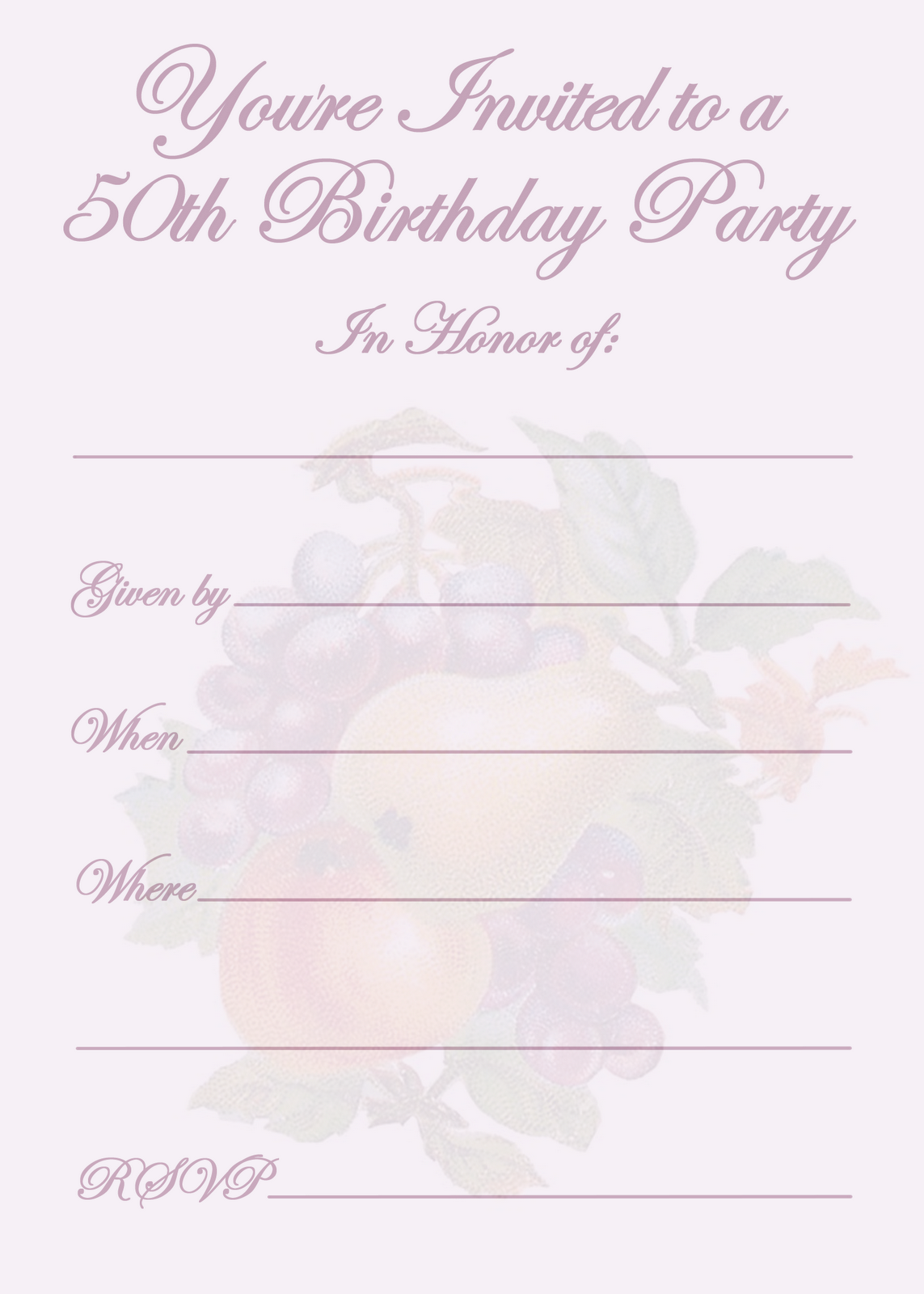 It is an image of Free Printable 50th Birthday Invitations inside editable