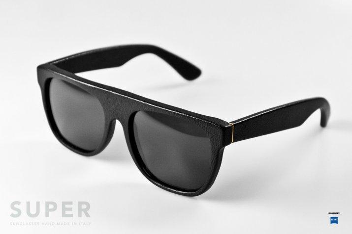d8509f41563 RetroSuperFuture black leather Flat Top sunglasses