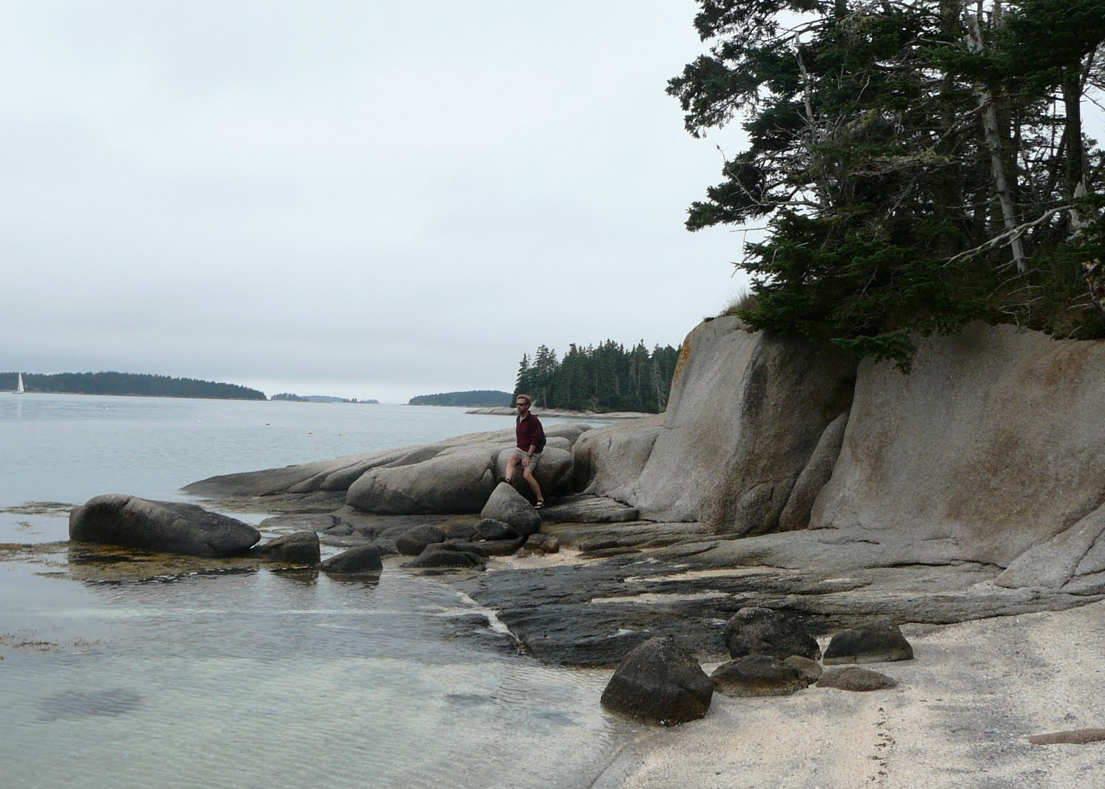 Beautiful, 500 feet from our anchor and open to the public as it's  protected by the Maine Island Trail Association.