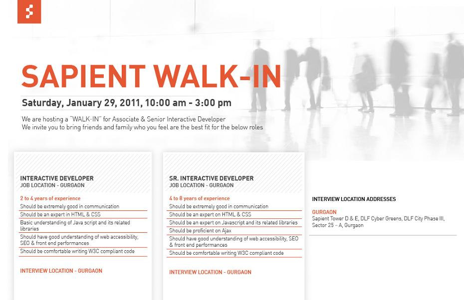It Careers Walkin Interview Sapient In Gurgaon On 29th
