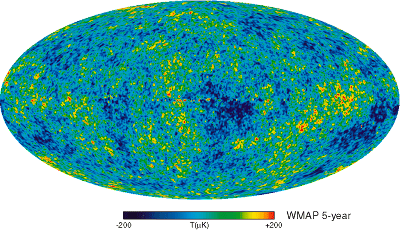 Five-Year Wilkinson Microwave Anisotropy Probe (WMAP) Observations: Data Processing, Sky Maps, and Basic Results. Credit Source: WMAP Science Team