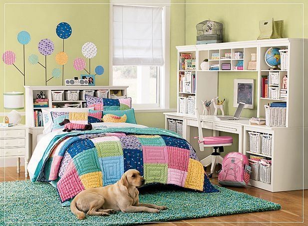teen girl bedroom multi color pretty fun scheme idea decor inspiration study area