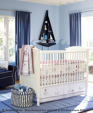 White Cream Baby Nursery Area Nautical Sailboat Room