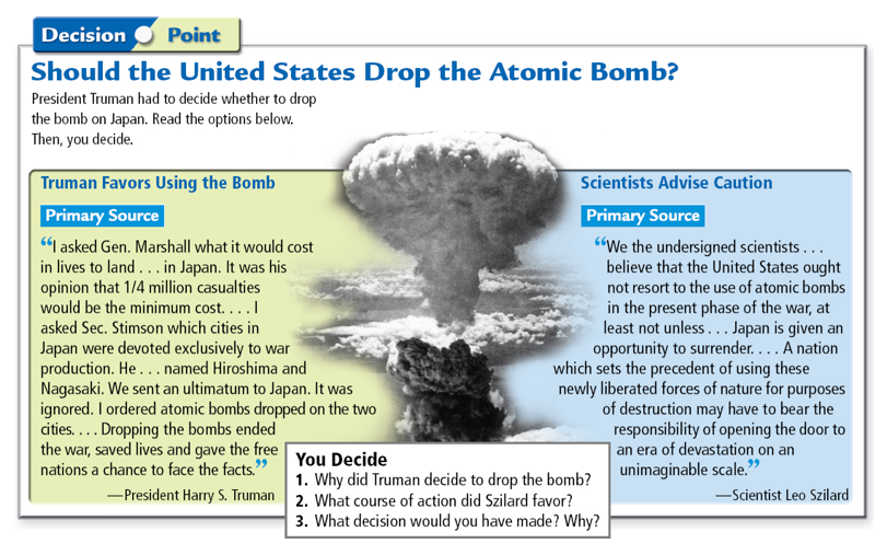 pres truman atomic bomb decision The decision to drop the atomic bomb was left to one person, president harry s truman since the decision to use the atomic bomb and following the unprecedented destruction of hiroshima and nagasaki, many questions regarding the decision have been asked, including if president truman had made the correct decision by unleashing the bomb and.